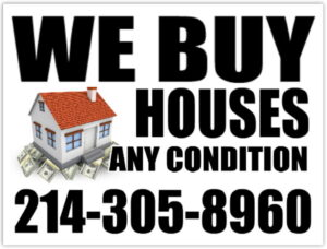 We Buy Houses Cash Sign